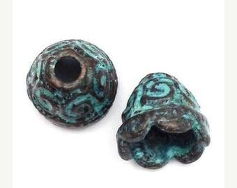 SALE 15% OFF 2 bead caps, green patina, 9 mm, 2 pieces, ornaments, caps, metal beads, antique look, patina