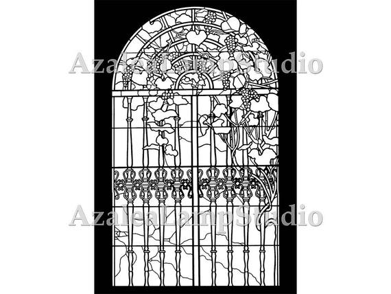 Stained Glass Window, Stained Glass, Window Insert, Art Nouveau Print, Stained Glass Patterns, Coloring Pages, Pattern Print, Tree Print