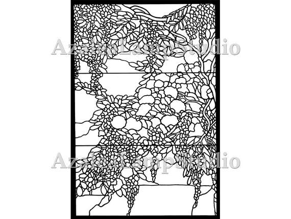 Wisteria Stained Glass, Tiffany Window Pattern, Pattern Designs,  Wisteria, Coloring Pages, Pattern Svg, Pattern Print, Tree Print
