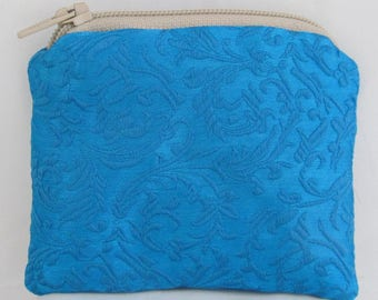 Small Blue and Gold Print Brocade and Satin Coinpurse Coin Purse Pendulum Crystals Zipper Bag Pouch Fancy