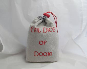 Dice Bag Pouch Velvet Dungeons and Dragons D&D RPG Role Playing Die Silver Grey Evil Dice of Doom Reversible Lined