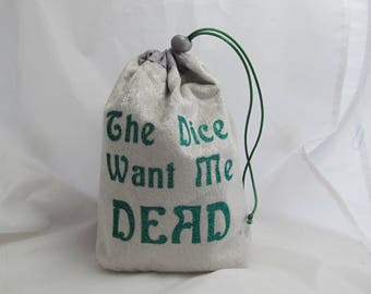 Dice Bag Pouch Velvet Dungeons and Dragons D&D RPG Role Playing Die Silver Grey The Dice Want Me Dead Reversible Lined