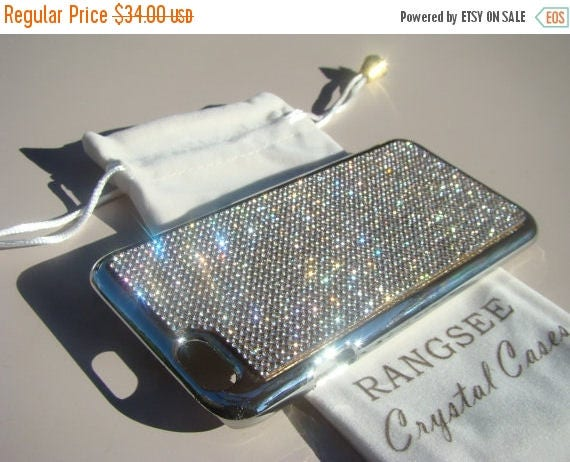 """Sale iPhone 6 / 6s Case Clear Rhinstone Crystals on iPhone 6 / 6s Silver Chrome Case. """" Gold Edition"""" , Genuine Rangsee Crystal Cases."""