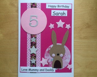 Handmade Personalised Girls Birthday Card Bunny Design 1st/2nd/3rd/4th/5th/6th/7th/8th Daughter/Sister/Granddaughter/Goddaughter Box Option