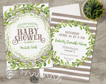 printed baby shower invitation gender neutral baby shower rustic baby shower invitation rustic