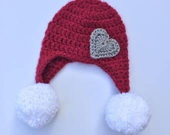 Heart Earflap Hat with Pompoms, Ready to Ship, Baby Girl Hat, Crochet Baby Hat, Christmas Hat, Valentine's Day Hat, Pompom, Crochet Hat