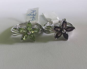 Peridot Sterling Silver Ring, Rhodium Plated, Natural Peridot, August Birthstone Ring, Pantone Color of the Year 2017