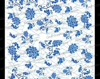 Blue porcelain flowers BL/28 transfers