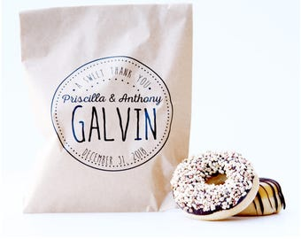 Wedding Favor Bag, Wax Lined Favor Bag, Custom Favor Bag, Popcorn Bag, Dessert Table, Donut Bag, Wedding Favor, Love is Sweet, Donut Box