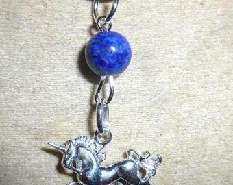925 sterling silver unicorn pendant lapis lazuli and chain