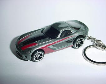3D 2006 Dodge Viper custom keychain by Brian Thornton keyring key chain finished in grey/black color trim diecast metal body