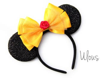 Belle Mickey Ears, Beauty and the Beast Mickey Ears, Rose Mickey Ears, Belle Minnie Ears, Rose Mickey Ears, Belle Ears, Belle, Ears