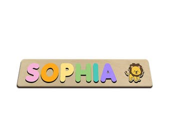 Lion Tamer Jungle Friends Personalized Wooden Name Puzzle With A Lion & Pastel Colors 271333940