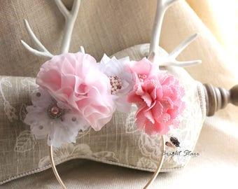 Deer headband - Easter headband - antler headband - Easter deer headband - pink flower headband - flower headband - deer antler headband