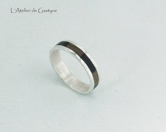 "Wooden ring made of wood and silver 2 ""made to order"" - Gastyne workshop"