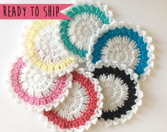 Rainbow Coasters, Coaster Set, Set of 6 Coasters, Crochet Coaster Set, Pastel Coasters, Crochet Coasters, Cute Coasters, House Warming