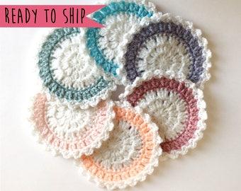 Cute Coasters, Coaster Set, Set of 6 Coasters, Crochet Coaster Set, Pastel Coasters, Crochet Coasters, Cute Coasters, House Warming