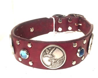 Leather Dog Collar, duck concho, labrador retriever, dog,cabochon, nickel, custom, handcrafted, studs, metal spots, thick leather dog collar