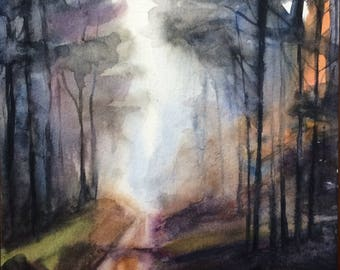 Forest painting, forest watercolor, woodland painting, Misty woodland, tree painting, watercolor trees, landscape painting, forest, trees