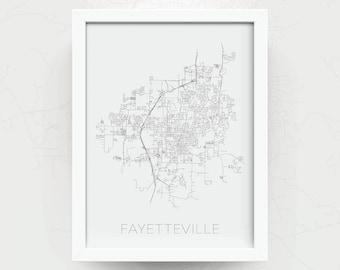 FAYETTEVILLE City Limit Map Print - Fayetteville Art Poster - Fayetteville Map - Fayetteville Print - Home Decor - Office Decor - Gift