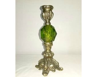 Vintage Green Glass and Silver Candle Holder,Green Candle Holder,Victorian Candle Holders,Taper Holders,Faceted Glass Candle Holder,1960s
