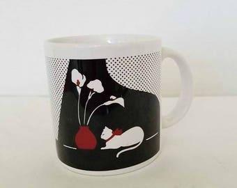 Art Deco Cat Coffee Mug,Black and White Cat Mug,Cat Cup,CAT Lover,Cat Mug,Siamese Cat Planter,Coffee Mug, Cat Lady,Art Deco,Vintage Mug