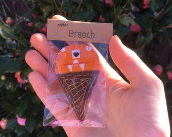 Alien ice cream Brooch