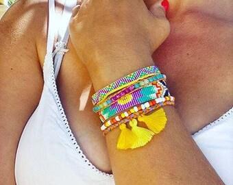 Multi-row weaving Miyuki beads, magnetic clasp bracelet cuff
