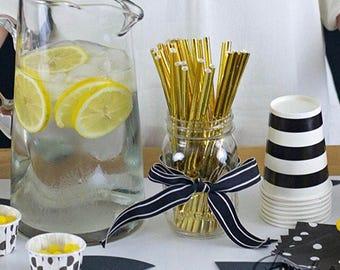 25 Gold foil paper straws-gold paper straws-gold straws-bridal shower-wedding-birthday straws-cake pop sticks
