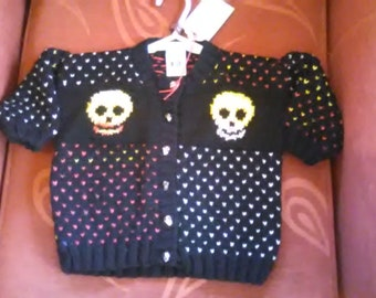 Hand knitted Skull themed cardigan to fit a child aged 1-2 years old