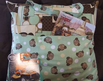 Kid's Travel Pillow With Pocket, Pillow With Pocket, Travel Pillow,Polka Dot Pillow, Storage Pillow, Monkey Fabric