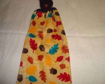 Fall ..Leaves ..Acorn Kitchen Towel With Crochet Top