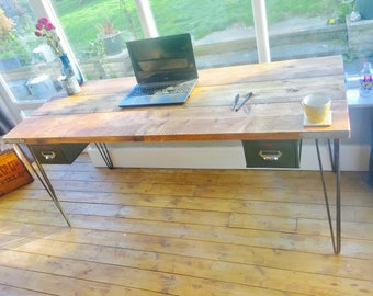 Scaffolding board desk | Reclaimed desk with hairpin legs with vintage steel drawers