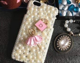 Bling Pearls Cute Pink Dancing Ballet Gilr Bottle Sparkles Charms Glossy Crystals Rhinestones Diamonds Gems Hard Cover Case for Mobile Phone