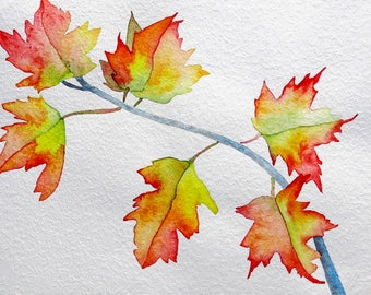 Original art, watercolor painting, whimsical art, maple tree painting, one of a kind art, autumn leaves, maple tree branch, botanical art
