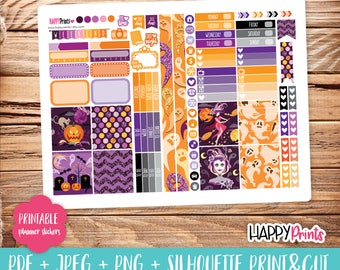 Halloween Printable Planner Stickers.