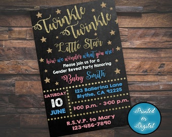 Twinkle Twinkle Little Star Invitation, Gender Reveal Invitation, Gender Reveal