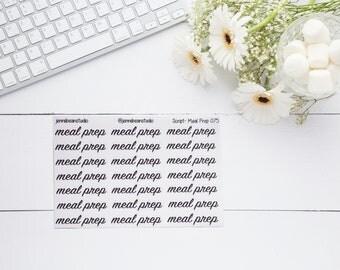 075 // Meal Prep Script Stickers for Erin Condren, Recollections, BuJo, Travelers' Notebook, Happy Planner