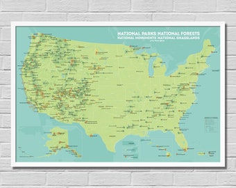 National Forest Map Etsy - Us national monuments map
