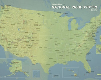 US National Park System Units Map 24x36 Poster