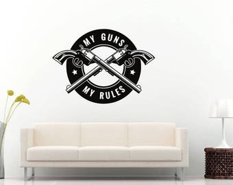 Gun Rules Two Guns Pistols Revolver Caliber Firearm Weapon Logo Wall Sticker Decal Vinyl Mural Decor Art L2286