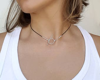 Choker necklace leather, delicate silver necklace, minimalist silver necklace, minimalist choker,leather necklaces for women,modern necklace