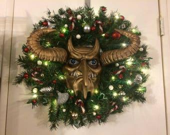 Krampus, krampus wreath, Alt Santa, Christmas wreath, demon of Christmas, tradition wreath, anti Santa, alternative Christmas, Sale