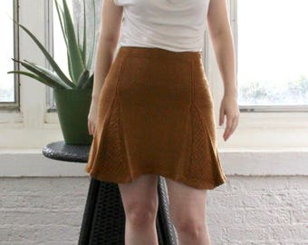 Hand Knit Golden Box Pleat Skirt Vintage Inspired Small
