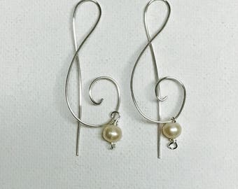 Silver Treble Clef Earrings With Freshwater Pearls