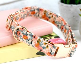 Dog Collar - Les Fleurs Rosa - Peach Floral Print - Fabric Dog Collar - Cotton + Steel Rifle Paper Company - Rose Gold Metal Hardware
