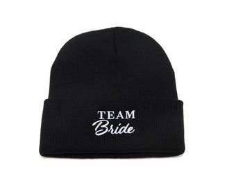 6 Team Bride Beanies, 6 Team Bride Hats, Bridal Clothing, Bachelorette Party Hats, Embroidered Beanie, Beanies with Words