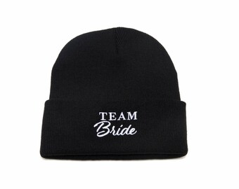 Team Bride Beanie, Team Bride Hats, Bridal Clothing, Bachelorette Party Hats, Embroidered Beanie, Beanies with Words