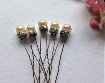 Bridal Hair Pins, Set of 5 Hair Pins, Vintage Ivory Pearls, AB Crystal Rondelles, Vintage Wedding, Bridesmaid