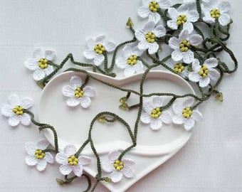 Daisy garland necklace flowers Lariat scarf jewelry Women Neck accessories Mother day gift